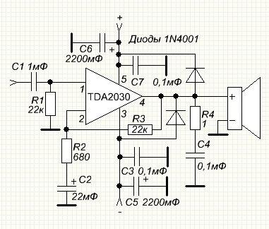 схема включения тда2030 - Практическая схемотехника.