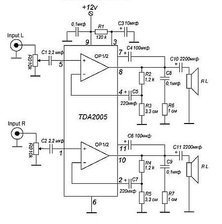 Моно усилитель 20w на TDA2005