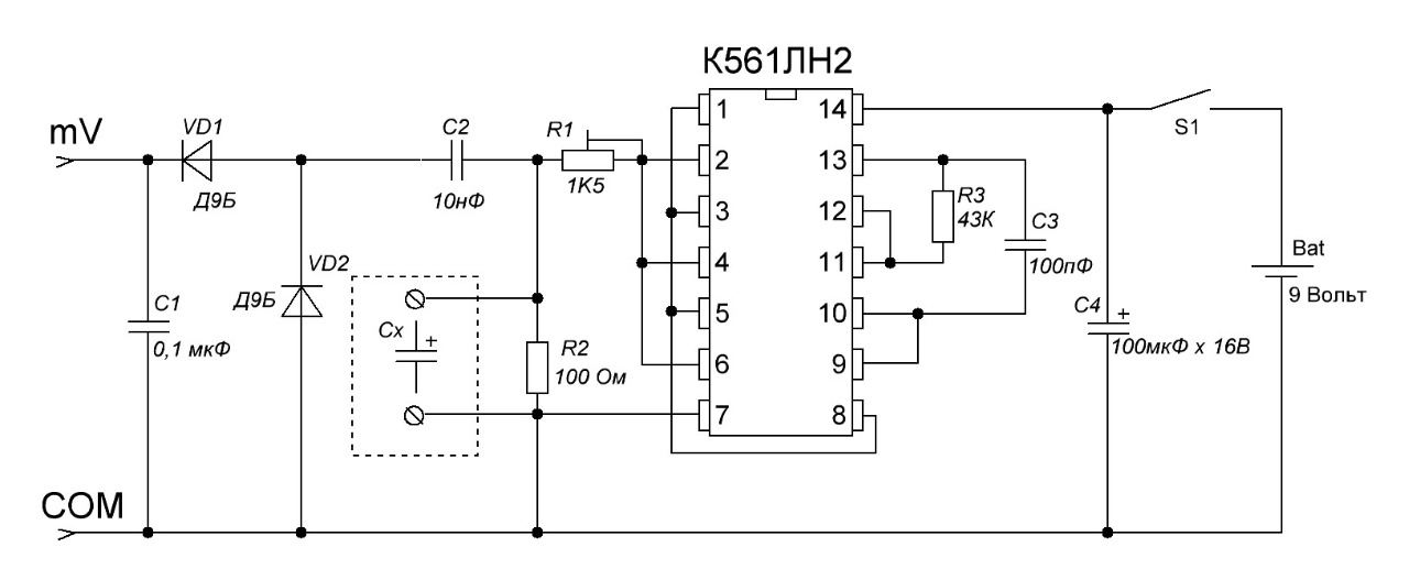 Радио схема проверки конденсаторов