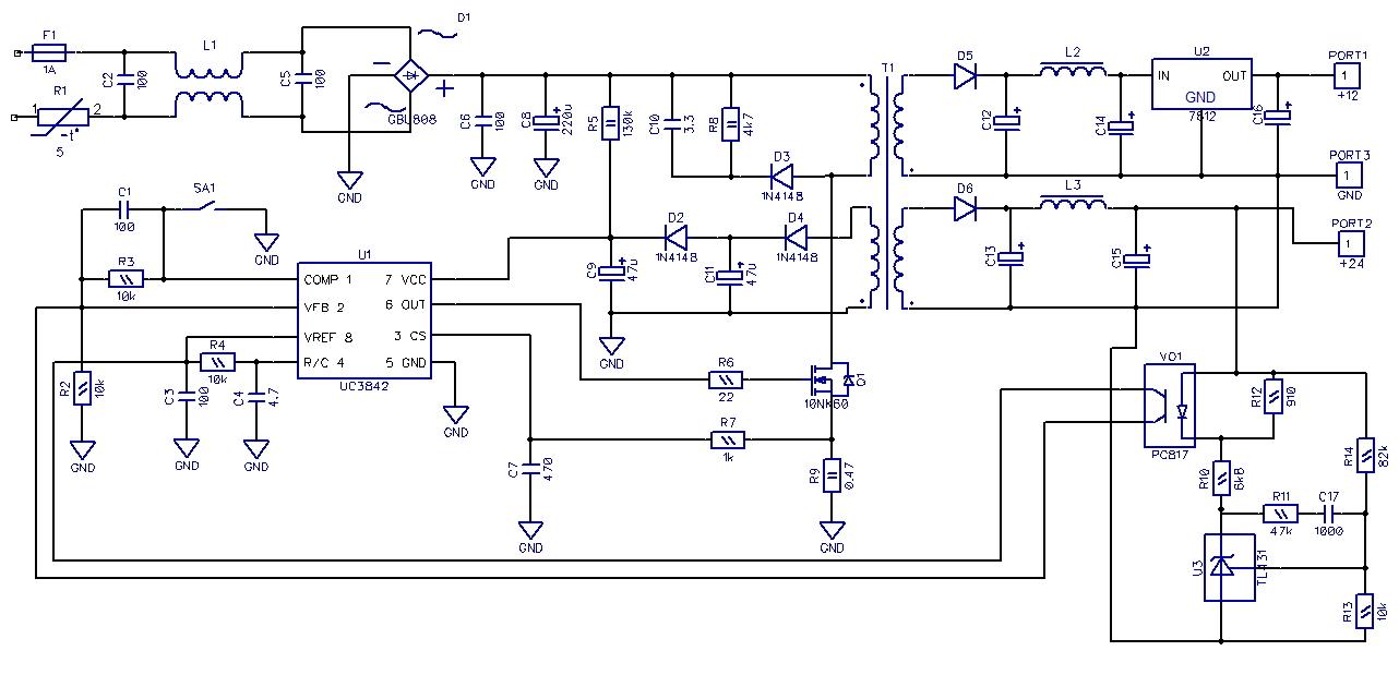 схема высоковольтной электронной нагрузки