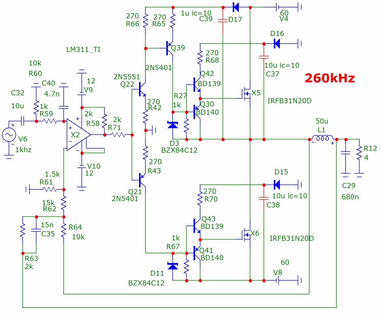 Схема усилителя 500 вт d класса