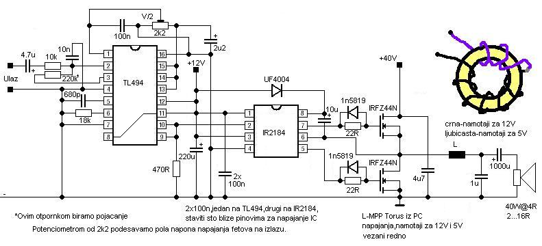 Inace ako hoces bas nesto prosto, pogledaj kako prave pojacivace sa TL494 ili UC3526