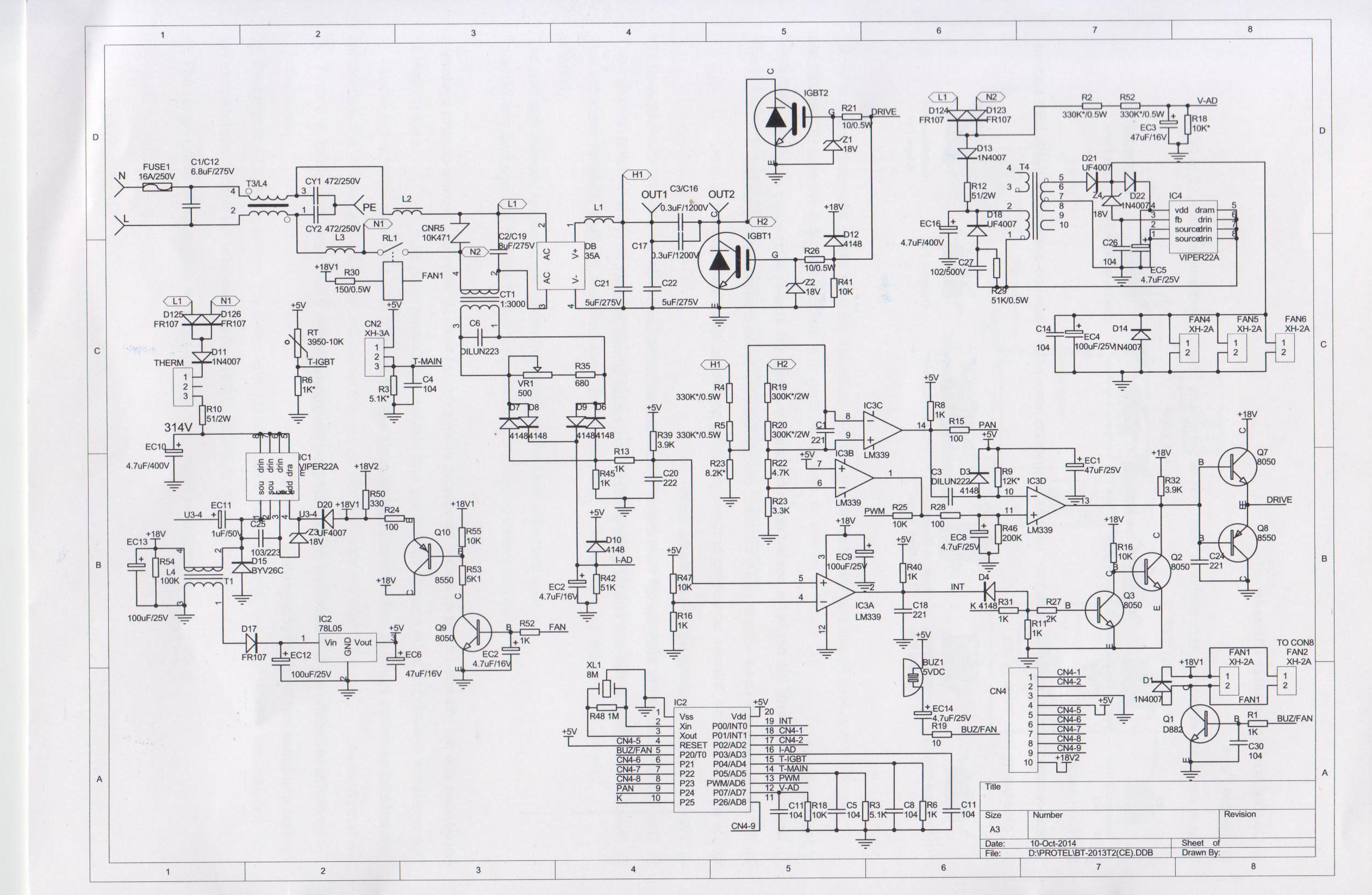 Ремонт индукционных плит схема