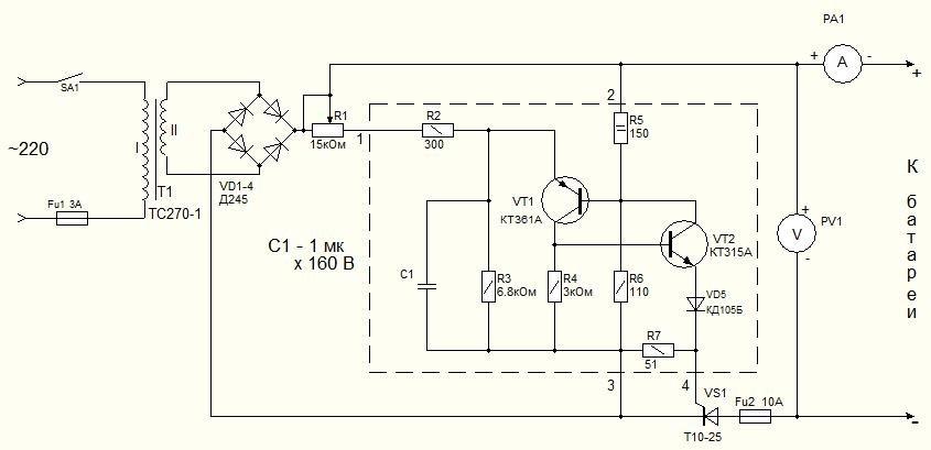 Схема пуско зарядного устройства на 12в