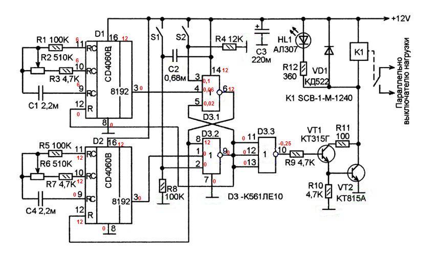 Схема периодического включения вентилятора