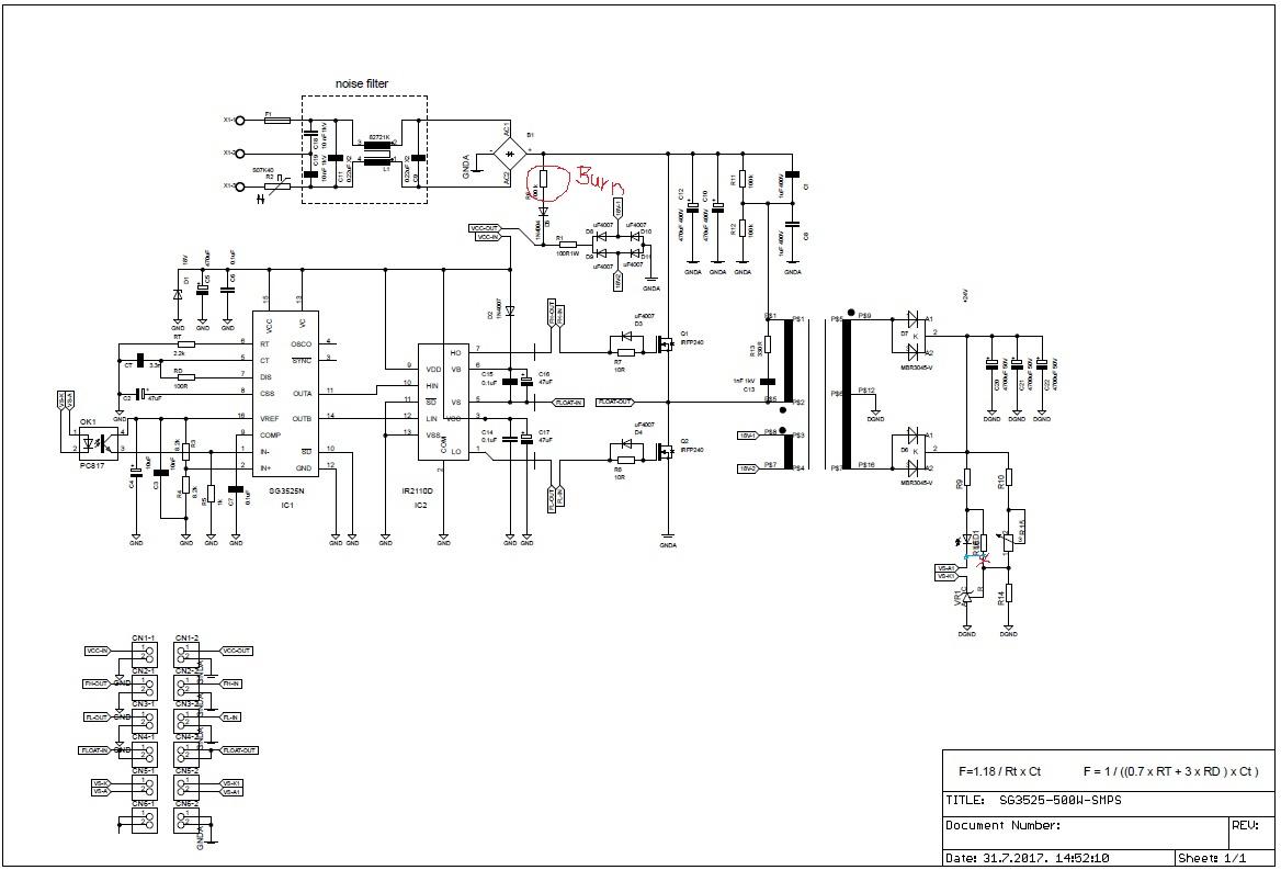 half bridge sg3525a smps circuit