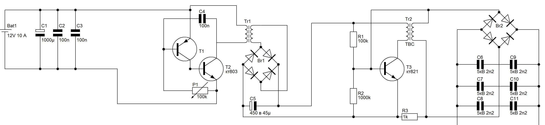 схема фонарика шокера