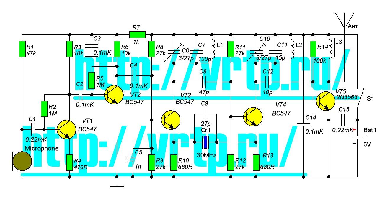 Схемы радиомикрофона с кварцем