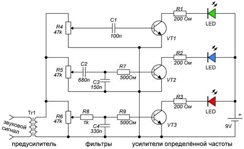 Переменный резистор своими руками   Схема цветомузыки своими руками для изготовления 16