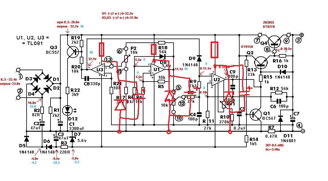 Лабораторный блок питания 0-30в 0-10а схема