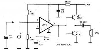 Резисторы R1 и R2 задают режим работы микросхемы.  Коэффициент усиления определяется значением сопротивления...