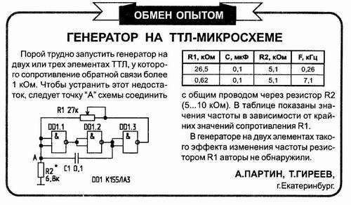 Схема генератор на к155ла3
