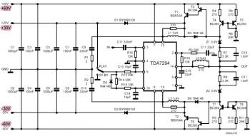 Описанная ниже схема включения...  TDA7294.  При такой схеме...